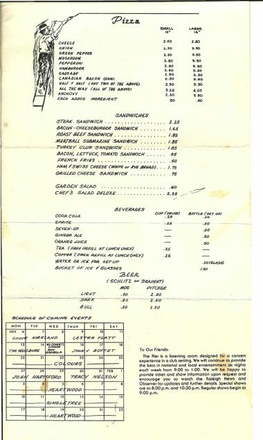 Pier 1975 Menu